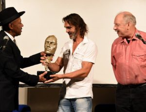 Michael receiving the Kastav Blues Festival Award with Emil Knapic and Duck Baker, Croatia 2017